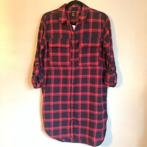 Forever 21 Flannel Navy, Red & Cream Shirt Dress